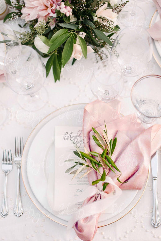 Arcadia Designs blush pink square linen napkin for thanksgiving wedding reception dinner
