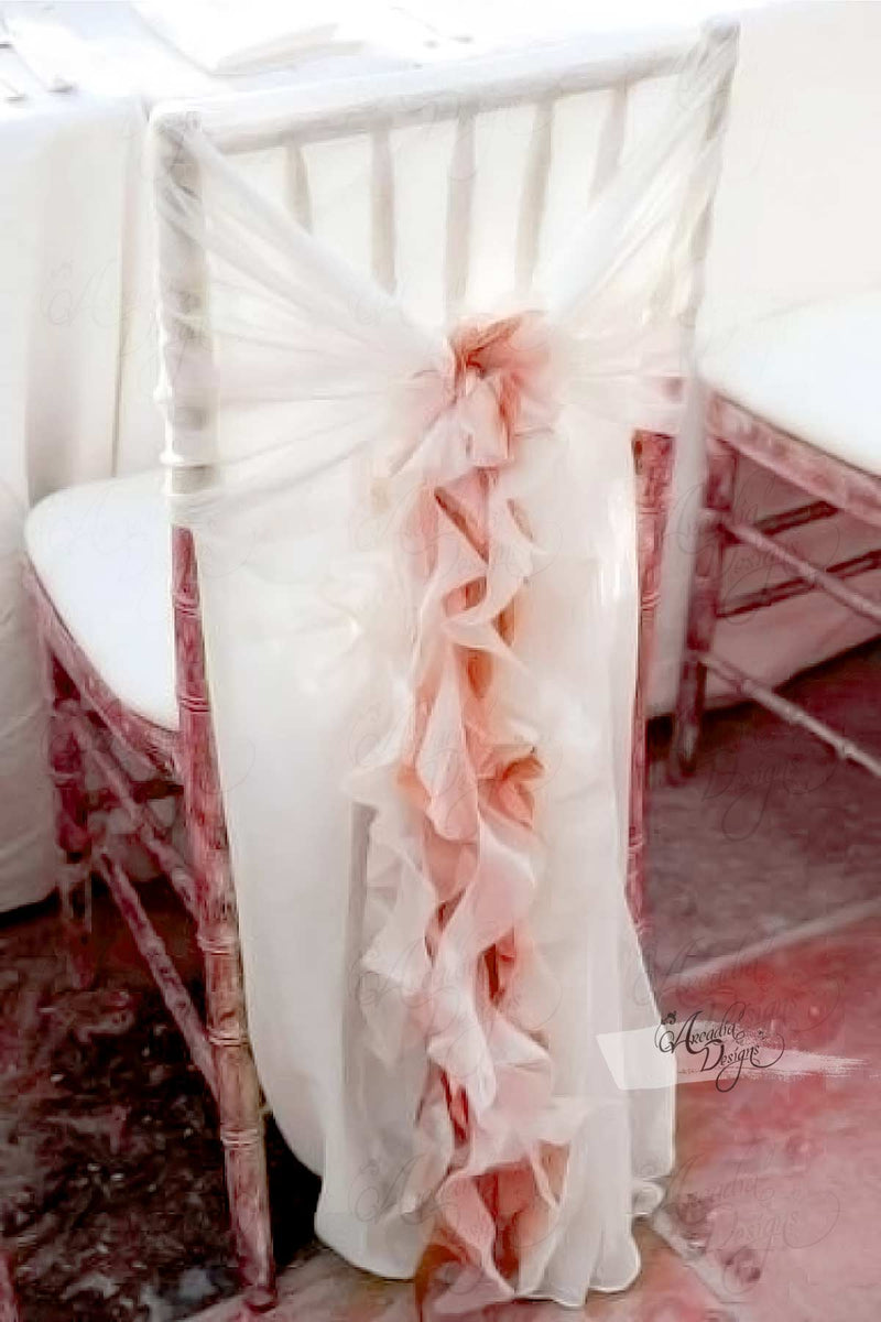 Arcadia Designs Ruffled Chiffon Chair Cover with Curly Sash White