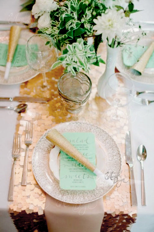Square Gold Sequin Table Runner