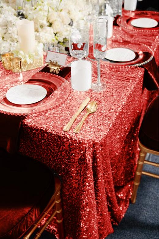 Christmas Red Sequin Tablecloth