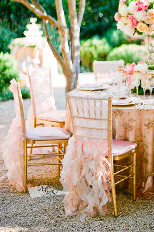Blush Pink Ruffled Bridal Chair Cover