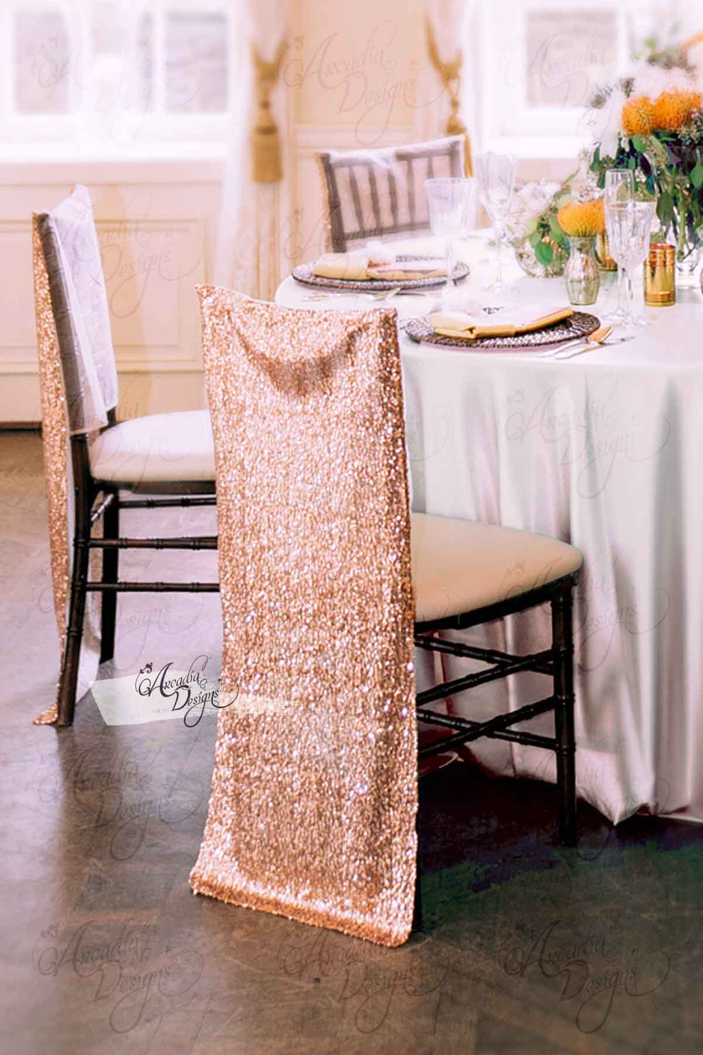 Arcadia Designs Shimmer Gold Chiavari Sequin Chair Cover Rose Gold