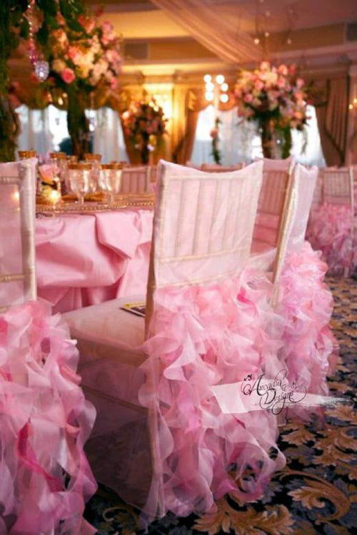 Light Pink Curly Willow Bridal Chair Cover