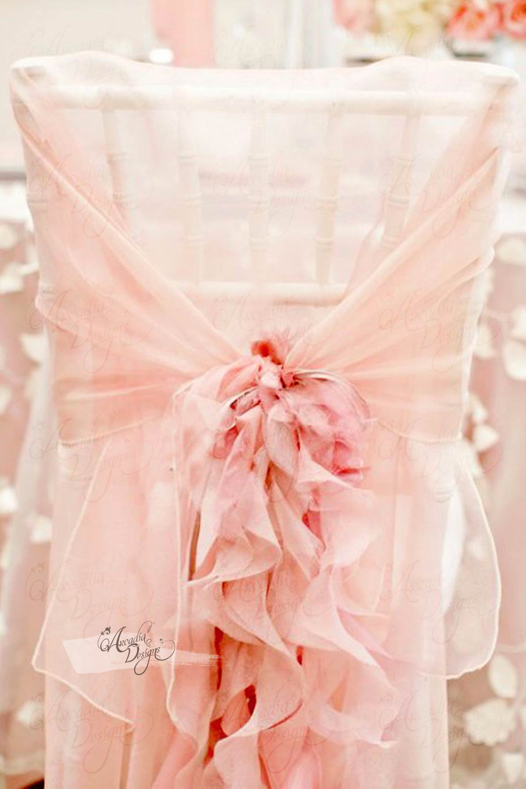 Arcadia Designs Blush Pink Ruffled Chiffon Chair Cover with Curly Sash