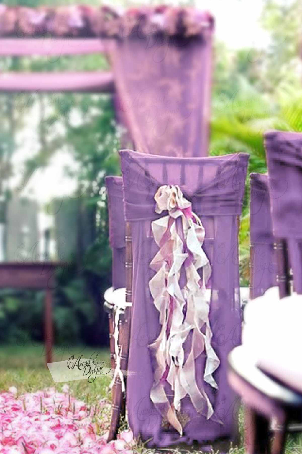Arcadia Designs Blush Lavender Ruffled Chiffon Chair Cover with Curly Sash