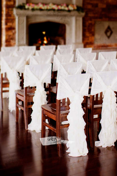 Silky White Chiffon Ruffled Chair Sash