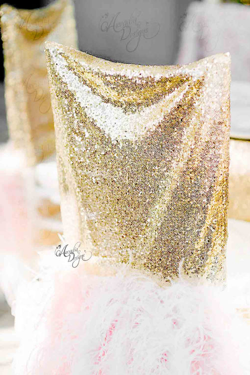 Marilyn Ostrich Feather Gold Sequin Chair Cover
