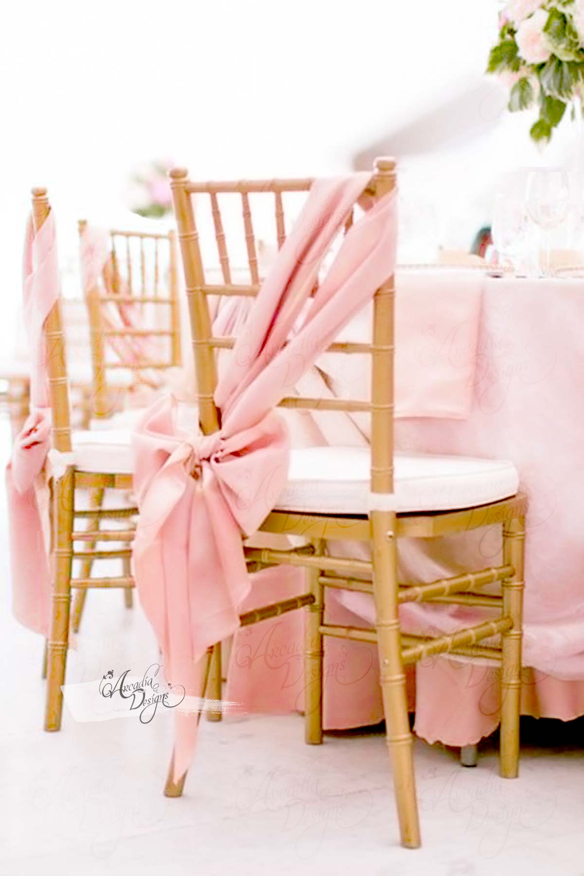 Rose Gold Think Satin Chair Sash Arcadia Designs
