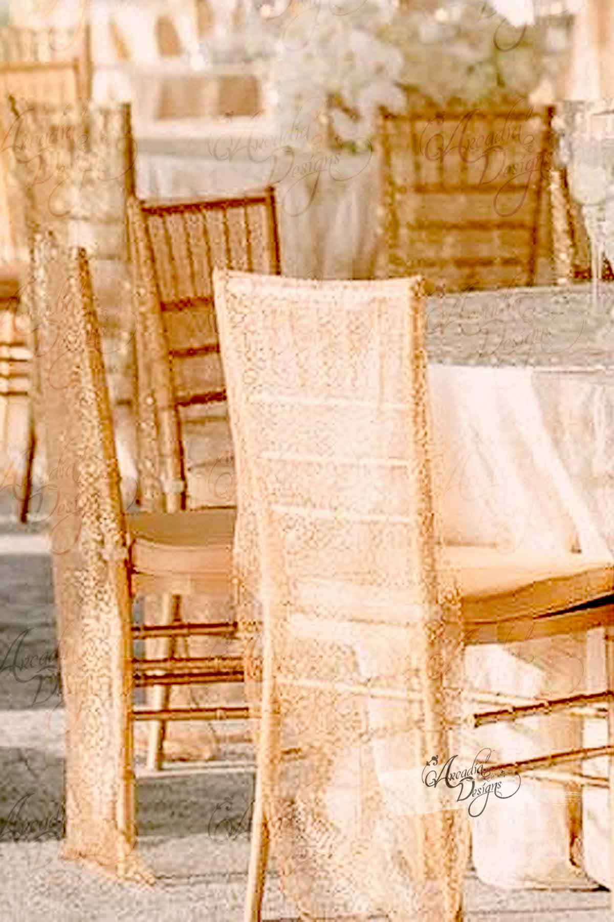 Arcadia Designs Shimmer Gold Chiavari Sequin Chair Cover Bright Gold