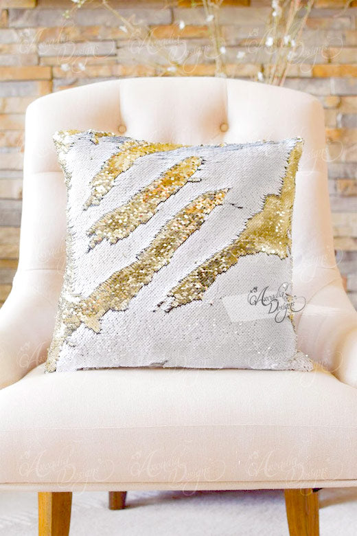 arcadia designs White & Gold Color Reversible Mermaid Sequin Pillow