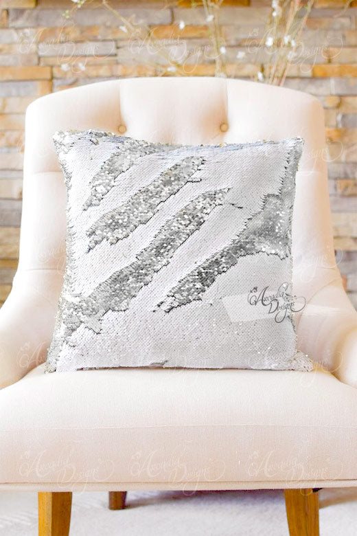 Pearl White & Silver Luxury Home Décor Pillow