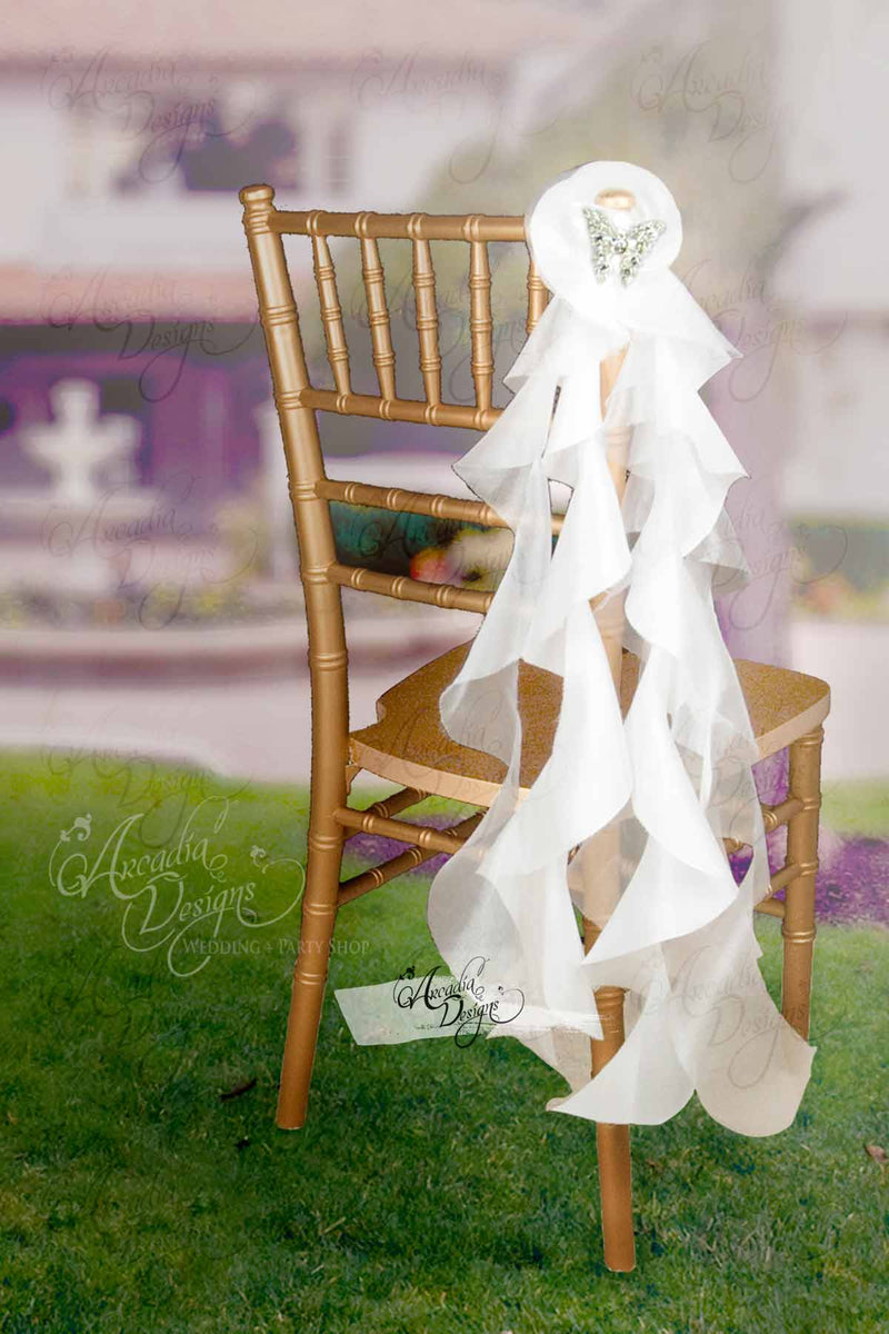 Arcadia Designs Silky White Curly Accent Chair Sash Natural White