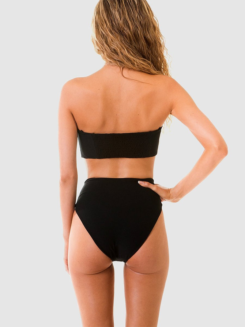 Black bandeau bikini top with shirred back section