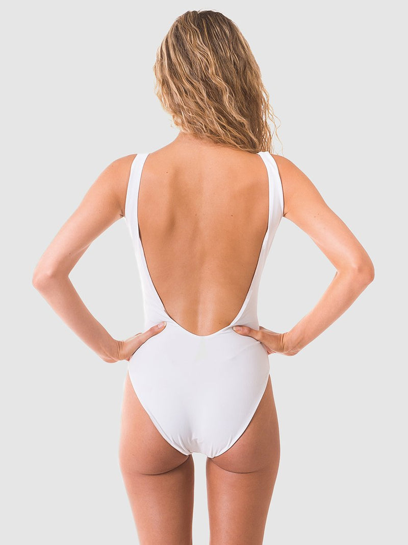Belt one piece swimsuit with a low scoop back