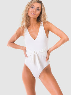 Belt one piece swimsuit in white recycled fabric