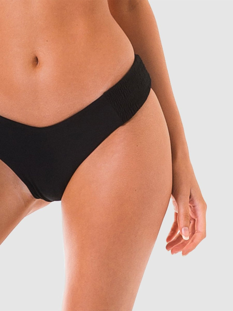 Scrunch bikini bottoms with shirred fabric sides in Black recycled fabric
