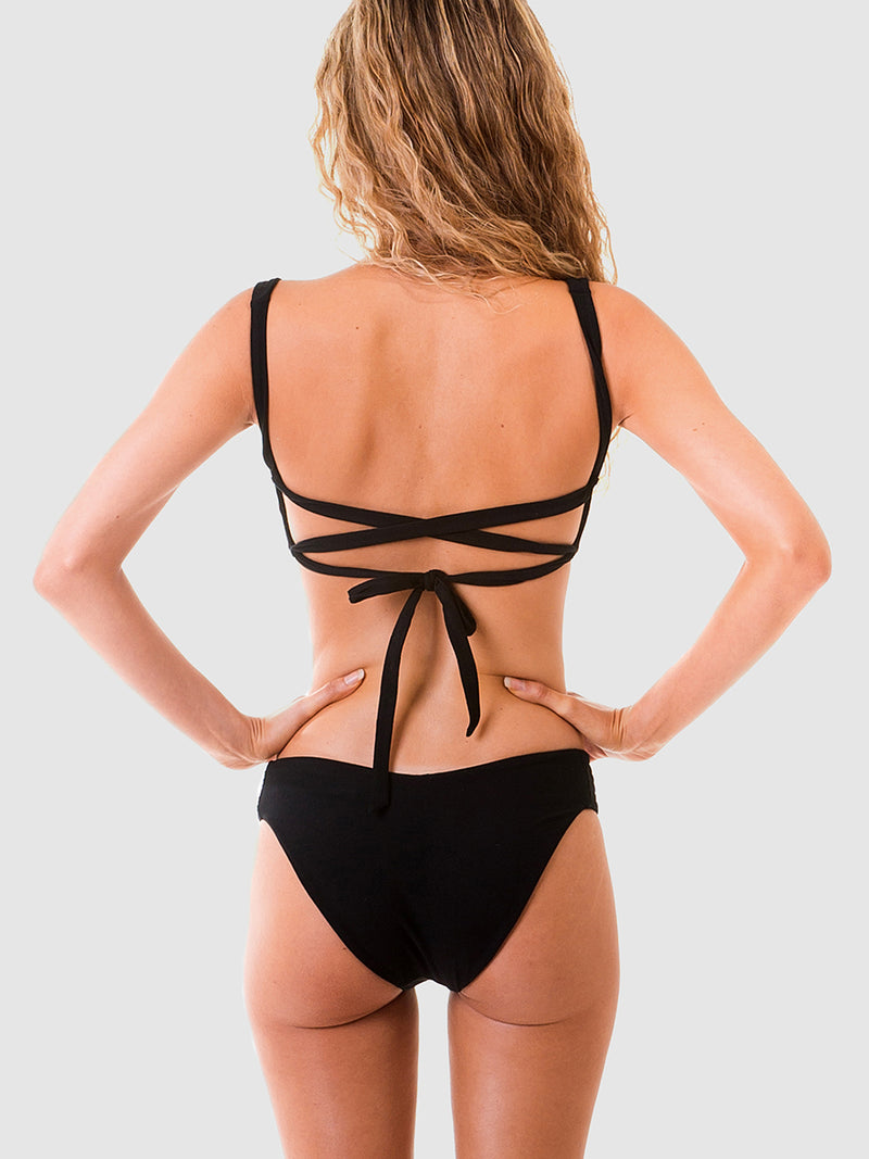 Scrunch bikini top with lace up back in Black recycled fabric