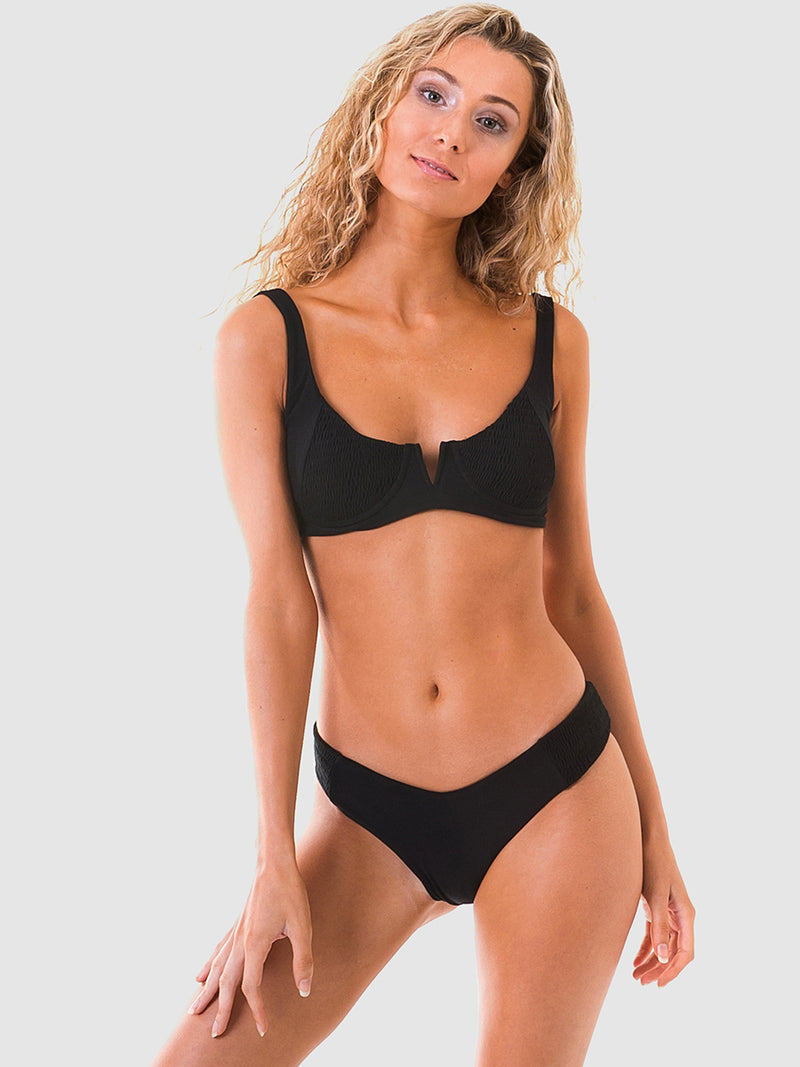Scrunch (shirred) bra style bikini top in Black recycled fabric