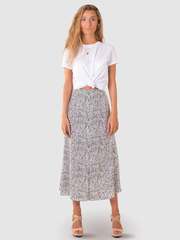 Midi skirt with long centre leg split in Black pebbles print