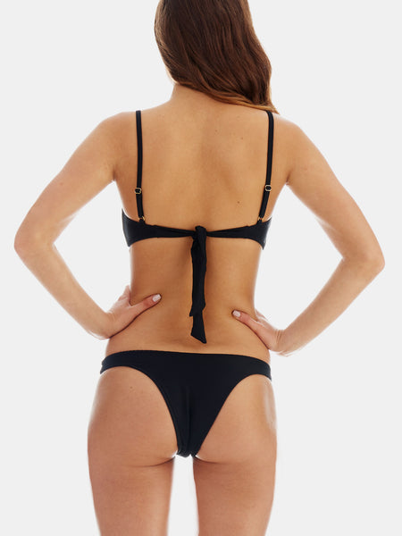Cheeky bikini bottoms in Black ribbed fabric
