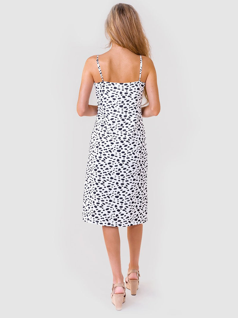 Midi slip dress in Black and White stones print - back