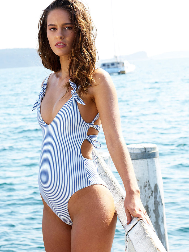 Ties One piece in Blue stripe by RH Swimwear