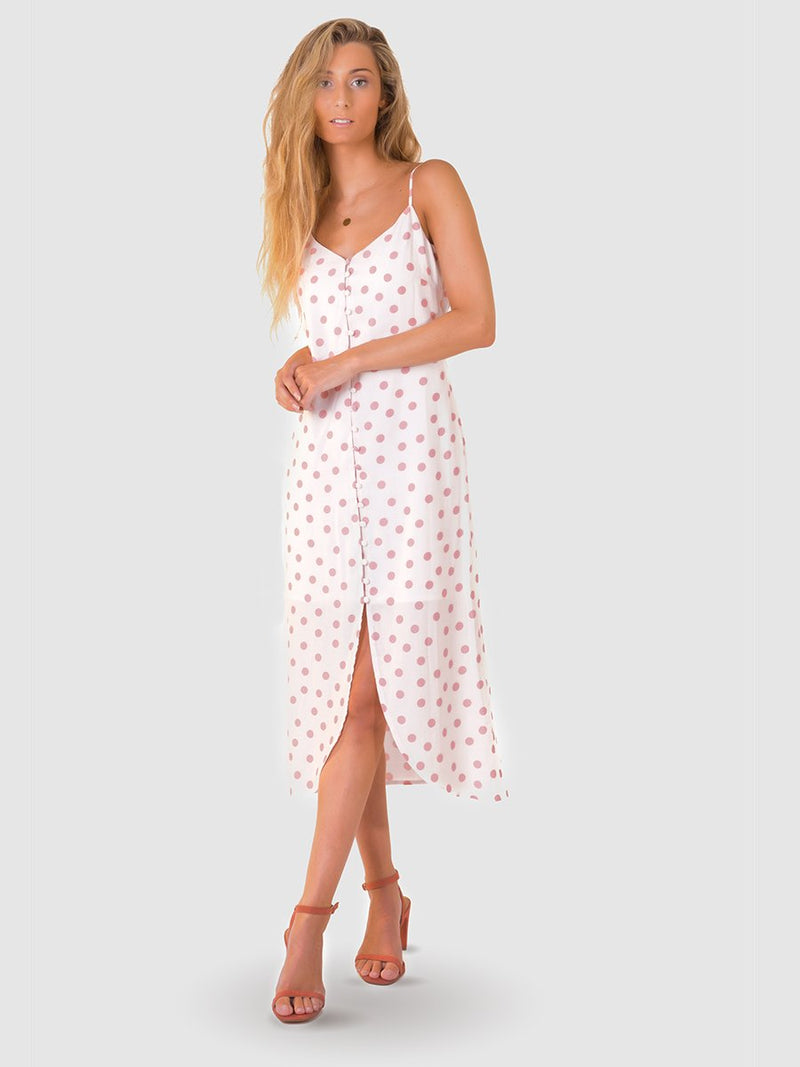 Button midi dress in dusky pink polka dot print