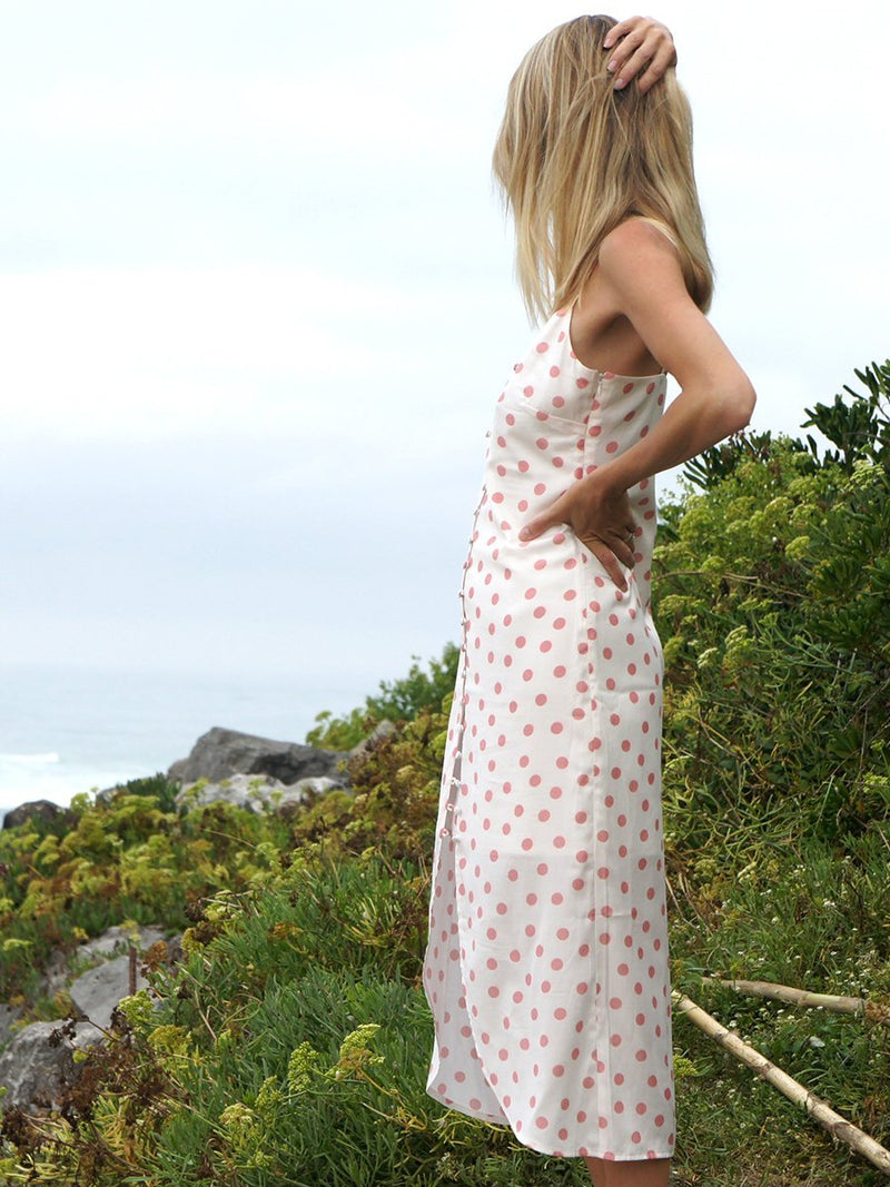 Button midi dress in dusky pink polka dot print - side