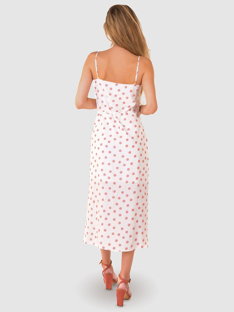 Button midi dress in dusky pink polka dot print - back