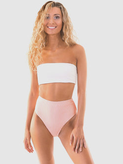 High rise bikini pant in Cantaloupe stripe (peachy-orange and white)