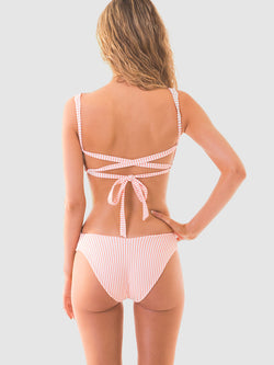 Cantaloupe stripe bikini with scrunch fabric ruching - back