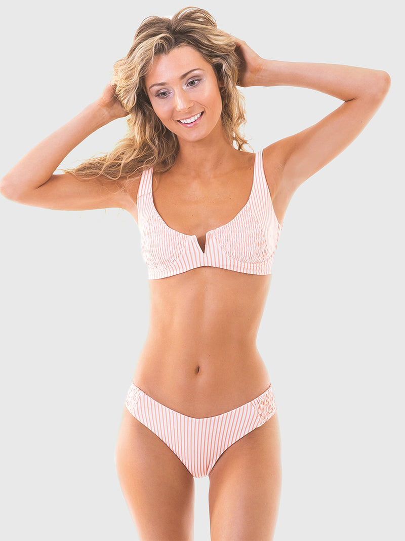 Cantaloupe stripe bikini with scrunch fabric ruching