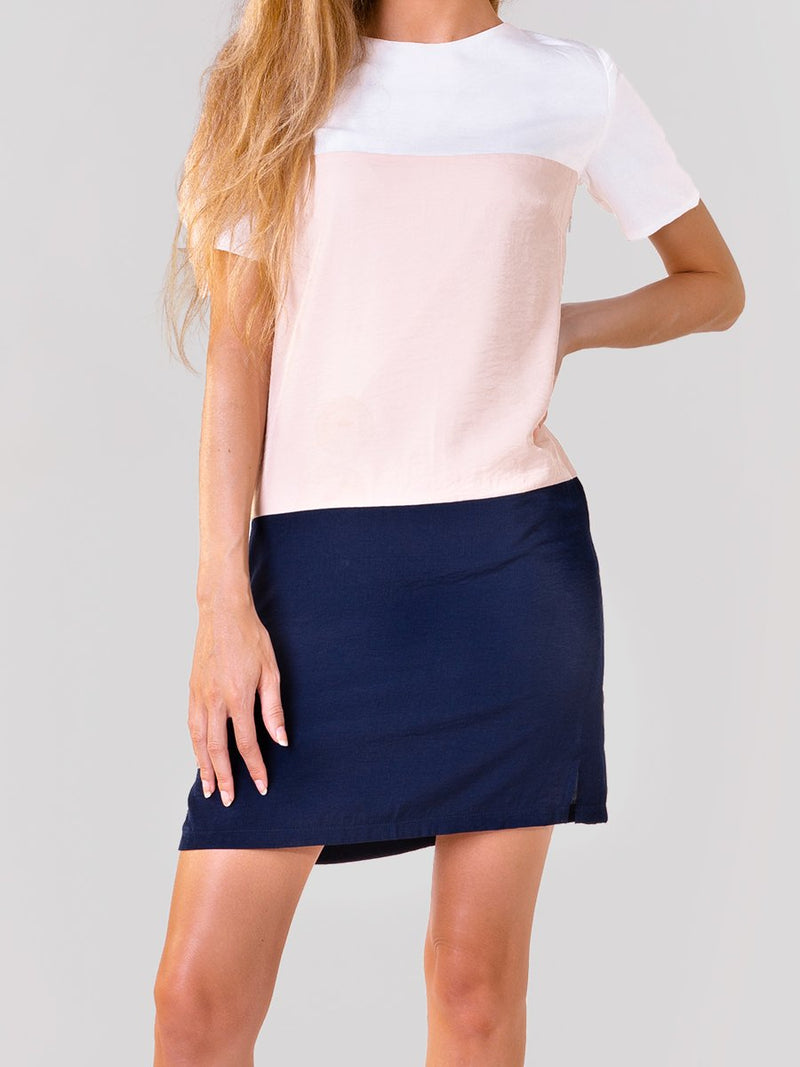 Colourblock shift dress in White/nude/navy