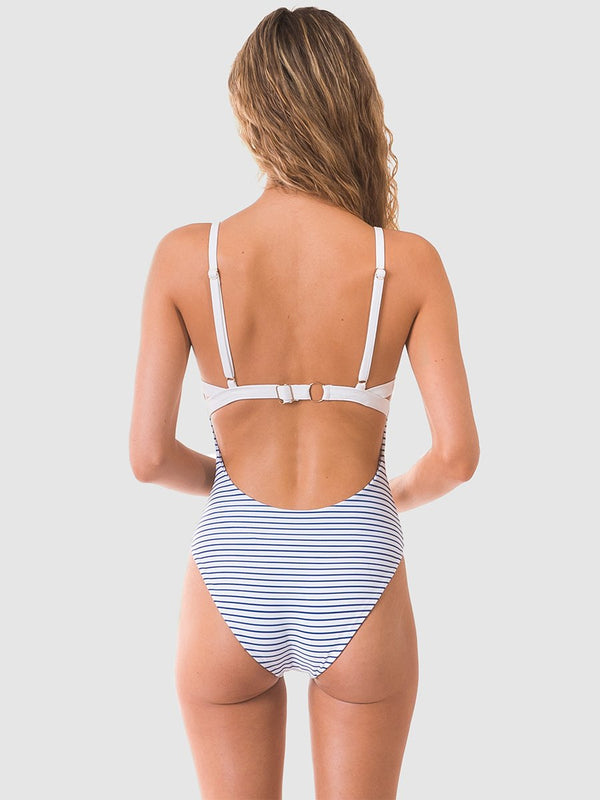 Coloublock one piece swimsuit in White/blue stripe with low scoop back
