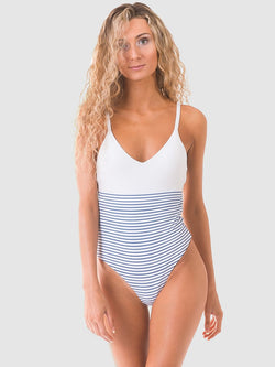 Coloublock one piece swimsuit in White/blue stripe recycled fabric