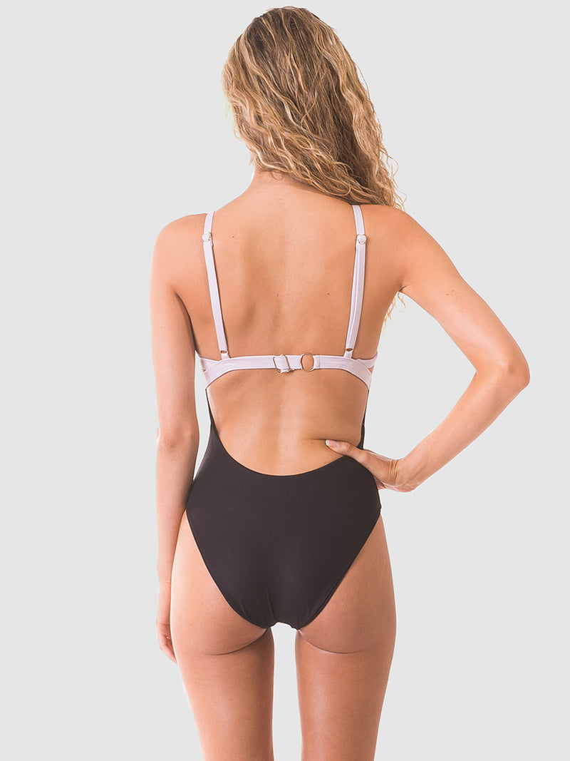 Coloublock one piece swimsuit in Nude/black with low scoop back