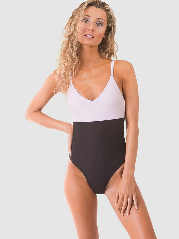 Coloublock one piece swimsuit in Nude/black with v-neck