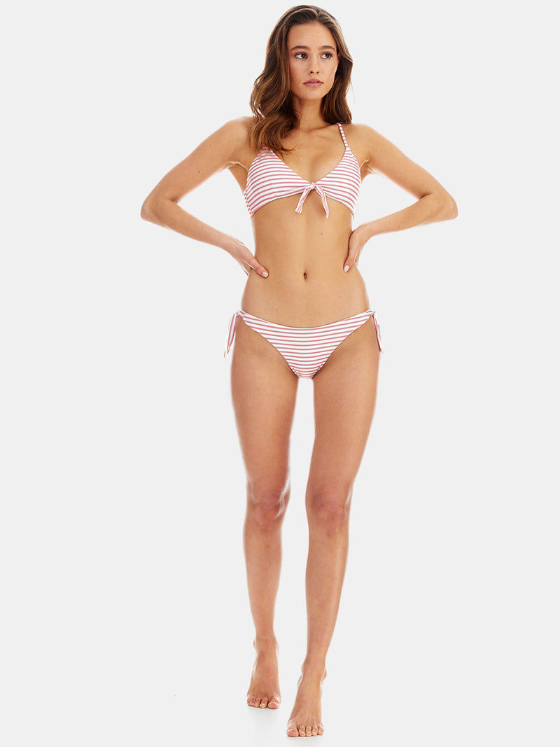 Centre tie bikini top in Dusky (pink) stripe by RH Swimwear