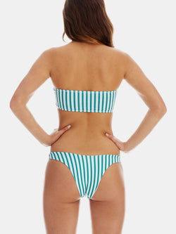 Cheeky high leg bikini bottoms in Green retro stripe