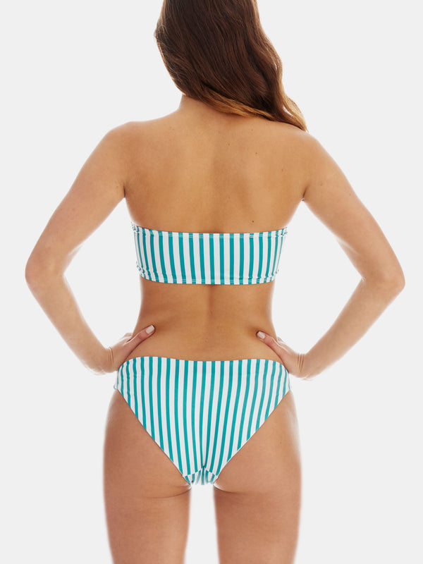 Green retro stripe bikini bottoms by RH Swimwear