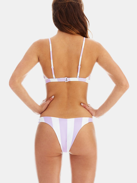 Cheeky high leg bikini bottoms in Lavender wide stripe