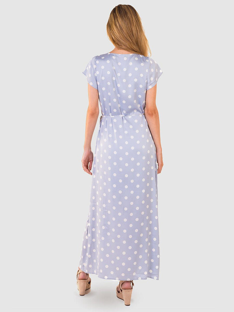 Maxi wrap dress in blue pearl satin - back