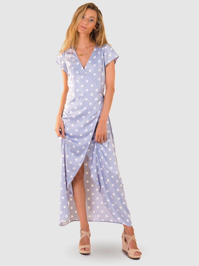 Maxi wrap dress in blue pearl satin