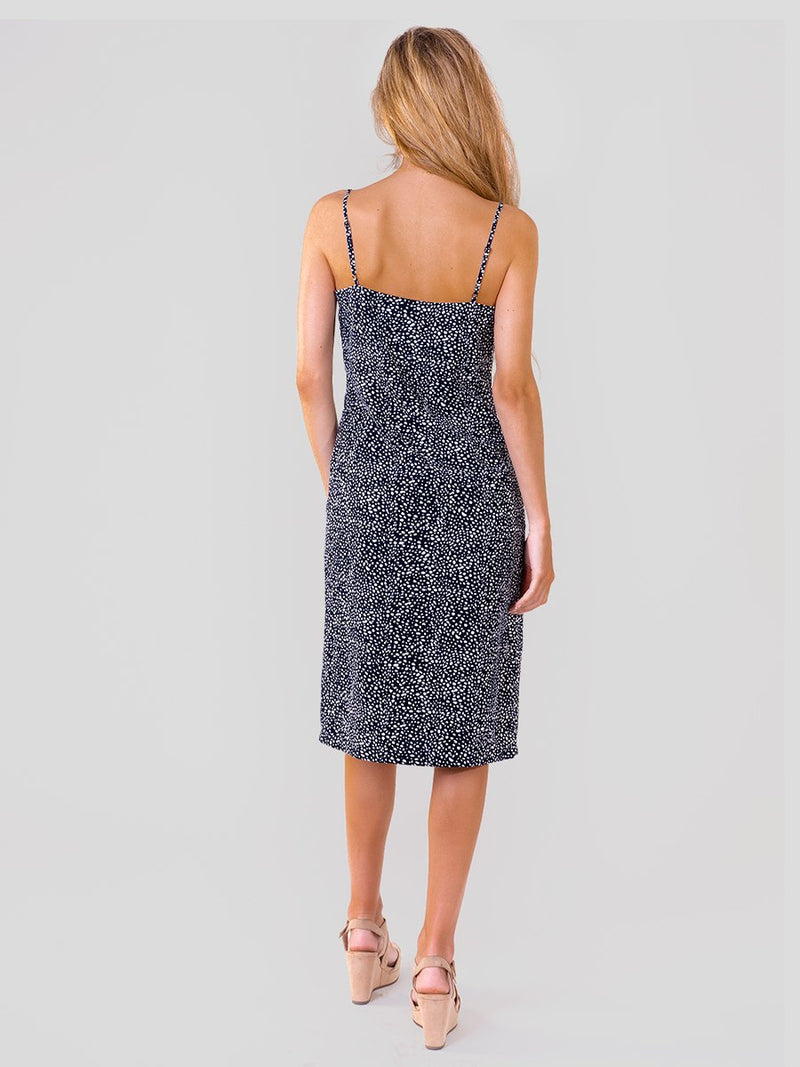 Midi slip dress in Navy pebbles print with side leg split
