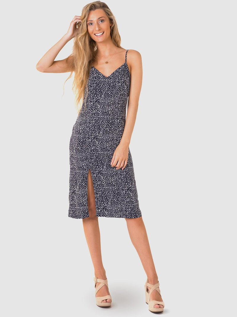Midi slip dress in Navy and White pebbles print