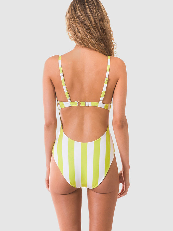 One piece swimsuit with low scoop back in chunky neon stripe