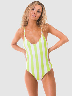 One piece swimsuit in chunky neon stripe recycled fabric