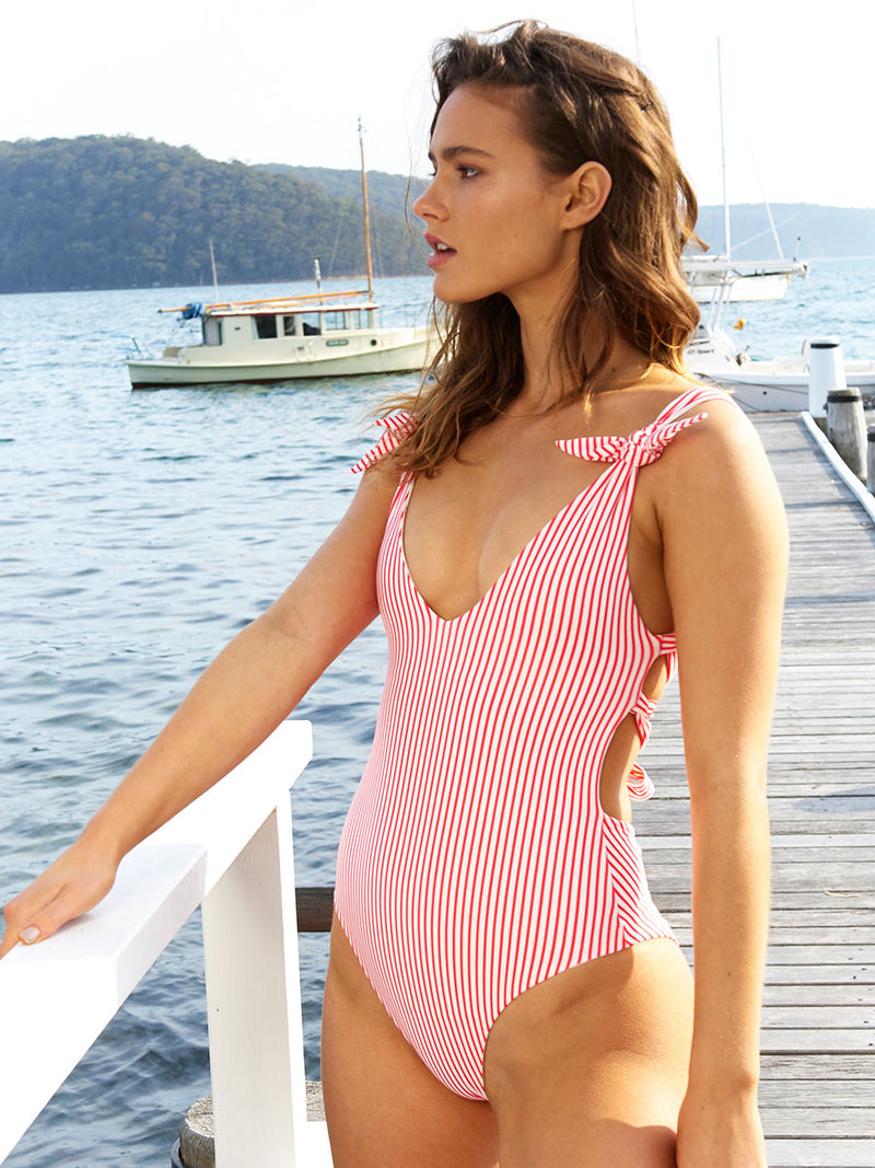 Ties one piece swimsuit in Red stripe by RH Swimwear