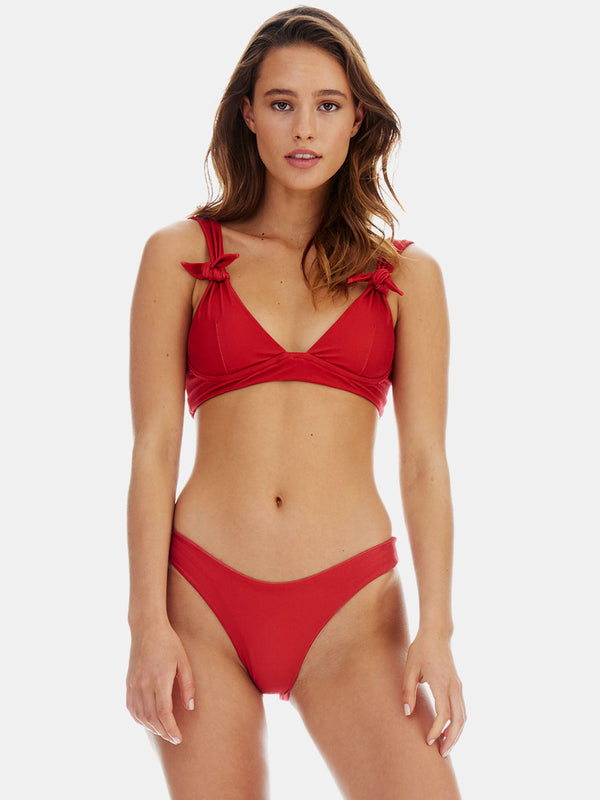 Ties bikini top in Rust (deep red) by RH Swimwear