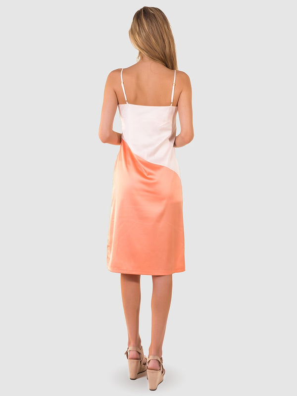 Satin slip dress in pinky-white and orange colourblock - back